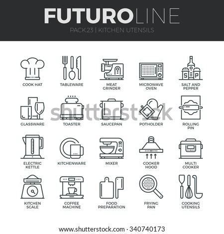 Modern thin line icons set of kitchen utensils, household tools and tableware. Premium quality outline symbol collection. Simple mono linear pictogram pack. Stroke vector logo concept for web graphics - stock vector
