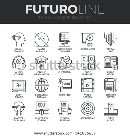 Modern thin line icons set of online education class and internet course study. Premium quality outline symbol collection. Simple mono linear pictogram pack. Stroke vector logo concept for web graphic - stock vector