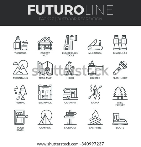 Modern thin line icons set of  outdoor recreation activity and hiking tourism. Premium quality outline symbol collection. Simple mono linear pictogram pack. Stroke vector logo concept for web graphics - stock vector