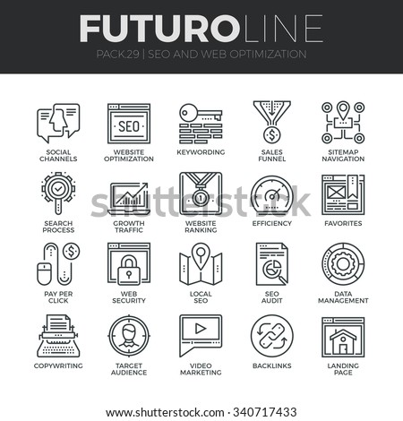 Modern thin line icons set of search engine optimization tools for growth traffic. Premium quality outline symbol collection. Simple mono linear pictogram pack. Stroke vector logo concept, web graphic - stock vector