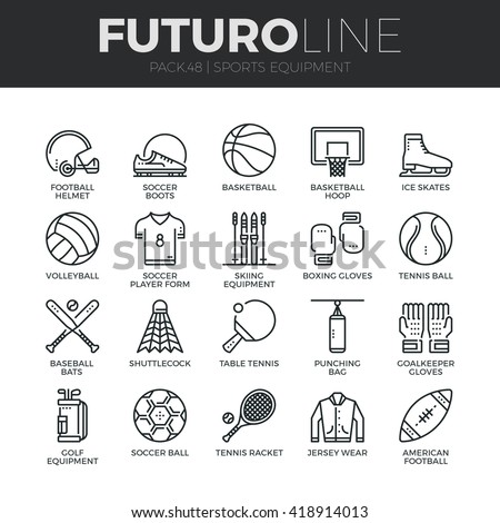 Modern thin line icons set of sports equipment and wear, various type of balls. Premium quality outline symbol collection. Simple mono linear pictogram pack Stroke vector logo concept for web graphics - stock vector