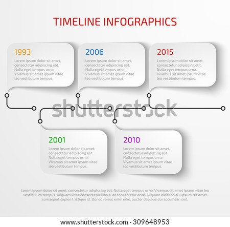Modern timeline infographic design template with drop shadow. Vector illustration - stock vector