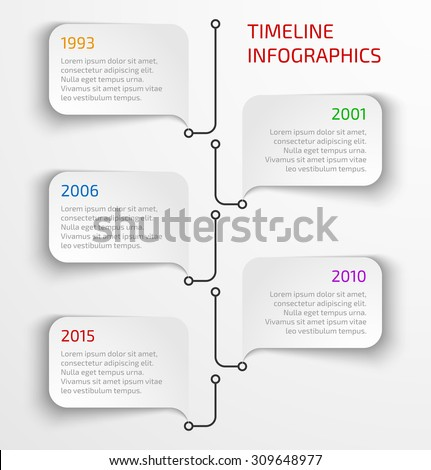 Modern timeline infographic design template with speech bubbles. Vector illustration - stock vector