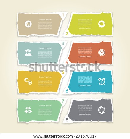 Modern torn paper for infographics. Vector infographics background - stock vector