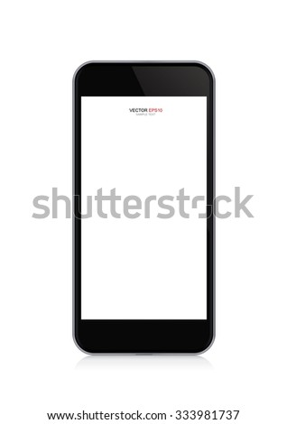 Modern touch screen smartphone with empty screen area for copy space. Vector illustration. - stock vector