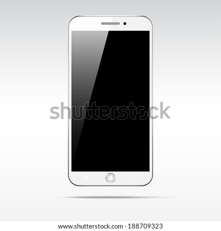 Modern touchscreen smartphone isolated on light background.  Empty screen - stock vector
