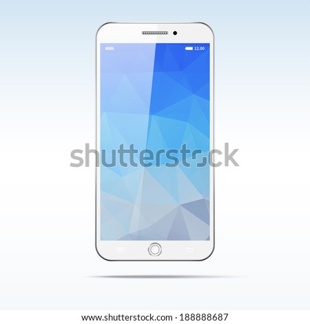 Modern touchscreen smartphone isolated on light background. Polygonal screen - stock vector