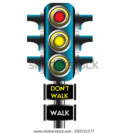 Modern traffic lights for cars and warning messages for pedestrians. Traffic lights design - stock vector