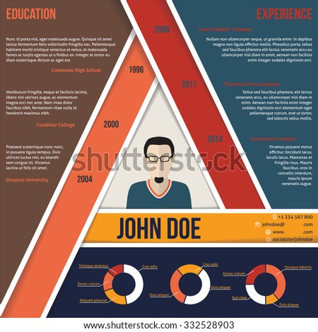 Modern triangle shape curriculum vitae cv resume template design - stock vector