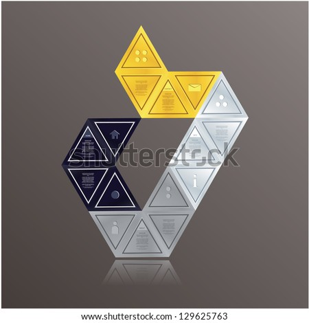 Modern triangle theme. Can be composed to many different shapes. Colorful triangles with space for your text. Can be used as info graphic schedule. - stock vector