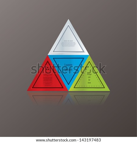 Modern triangle theme. Can be composed to many different shapes. Colorfully triangles with space for your text. Can be used as info graphic schedule.  - stock vector
