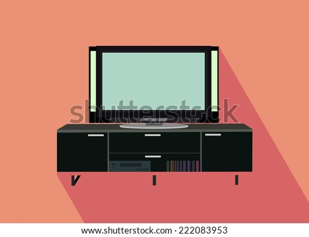 Modern TV table stand with glass shelves - stock vector