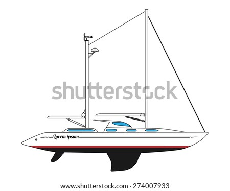 Modern two-masted sailing yacht. Vector illustration. - stock vector