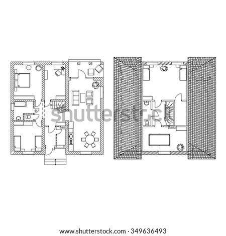 Modern Two Storey Floor Plan. Vector illustrations. - stock vector