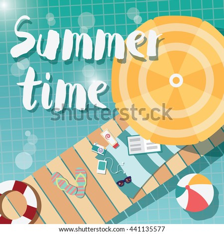 Modern typographic summer poster design flip flops, swimming pool and beach items, vector illustration - stock vector
