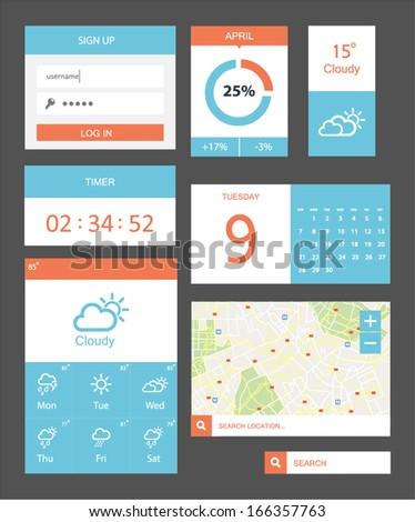 Modern UI flat design vector kit in trendy color - stock vector