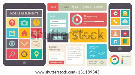 Modern UI flat design vector kit in trendy color with abstract simple mobile phone and digital tablet with menu icons, buttons, windows and other interface items. Isolated on white background. - stock vector