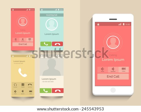 Modern UI, UX and GUI template layout with different Calling Screens in multiple color options for mobile apps and responsive website. - stock vector