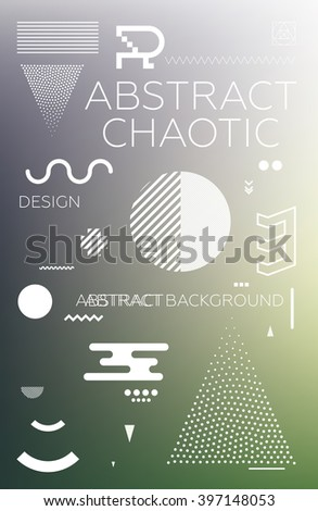 Modern universal chaotic composition of simple geometric shapes, colorful mesh gradation background in material design. It goes well with the text, poster, magazine, decor. In fiolet, green colors - stock vector