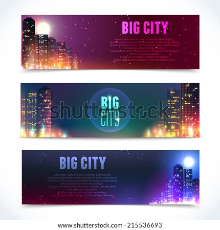 Modern urban city skyline at full moon night on dark background horizontal banners isolated vector illustration - stock vector