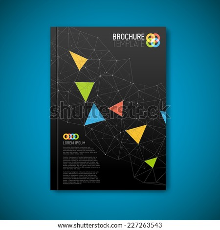 Modern Vector abstract brochure / book / flyer dark design template with triangles - stock vector