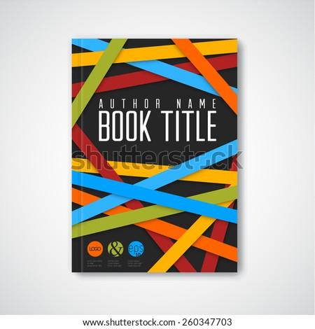 Modern Vector abstract brochure / book / flyer design template - dark version - stock vector