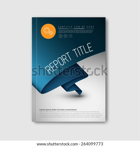 Modern Vector abstract brochure / book / flyer design template with dark blue paper - stock vector