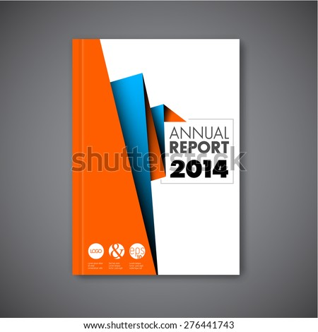 Modern Vector abstract brochure / book / flyer design template with orange and blue paper - stock vector