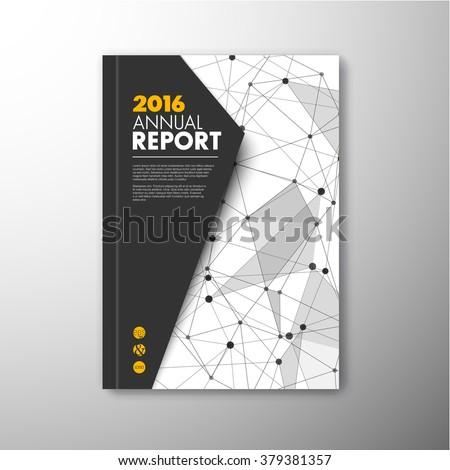 Modern Vector abstract brochure / book / flyer design template with triangles - dark version - stock vector