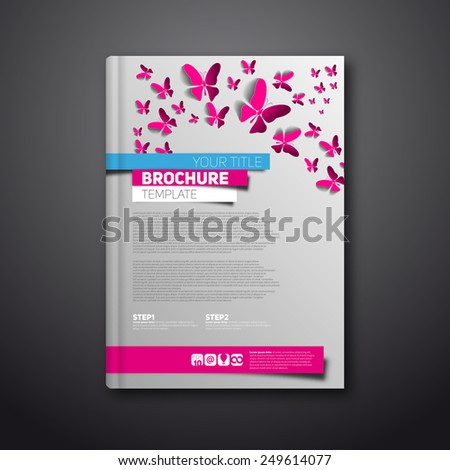 Modern Vector abstract brochure or book design template with butterflies and paper stripes - stock vector