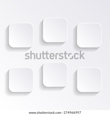 Modern vector blank white square buttons with shadows - stock vector