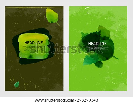 Modern vector brochure, report or flyer design template. Eco-friendly, ecology and organic graphic concept. A4 colorful watercolour hand drawn designs.  Letter covers artistic templates Collection. - stock vector
