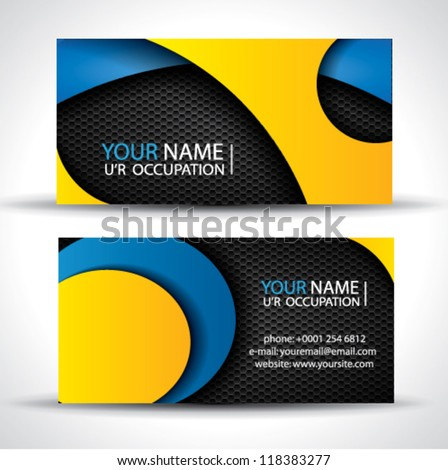 Modern vector business card - blue, orange and black colors - stock vector