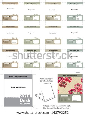 Modern Vector Desk Calendar Template 2014.  Simply add your own photos and company name and it is ready for printing. - stock vector