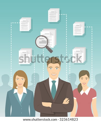 Modern vector flat conceptual illustration of human resources management, searching for perfect staff, analyzing resume, head hunting concept. Man in business suit in front of other candidates - stock vector