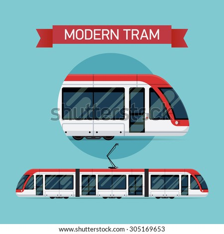 Modern vector flat design city light tramway train | Urban tram line car public transport item.  Ideal for urban lifestyle, mass transit infographics, graphic and web design - stock vector