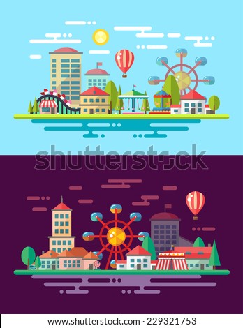 Modern vector flat design conceptual city illustration with carousels - stock vector