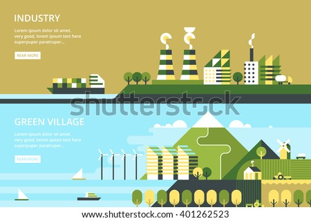 Modern vector flat design conceptual ecological illustration. Wind energy. - stock vector
