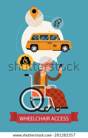 Modern vector flat design on senior woman using mobile device taxi service with wheelchair access application | Elderly female person using city public transport service mobile application - stock vector