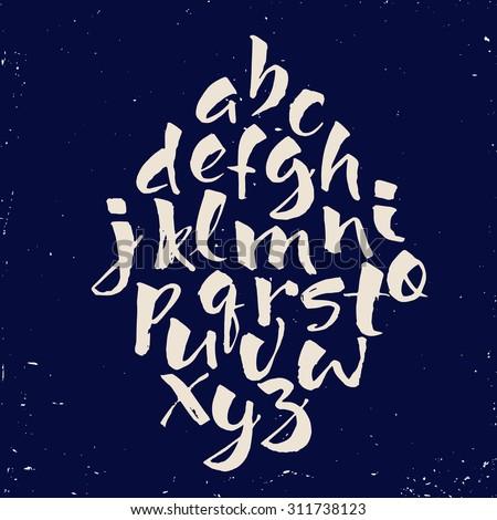 Modern vector hand written alphabet. Calligraphic alphabet. Brushed alphabet.  - stock vector