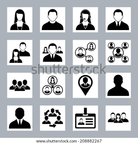 Modern vector human resource, office people and management icons set isolated on white - stock vector