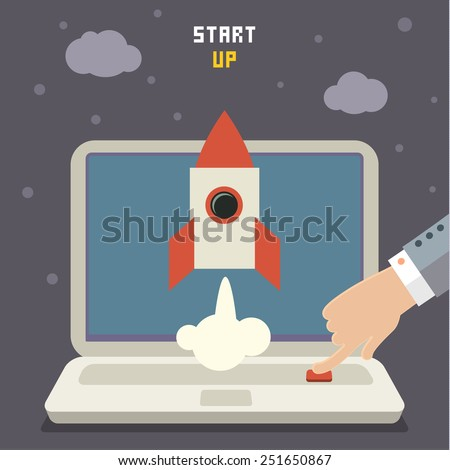 Modern vector illustration concept for new business project start up, launching new product or service - stock vector
