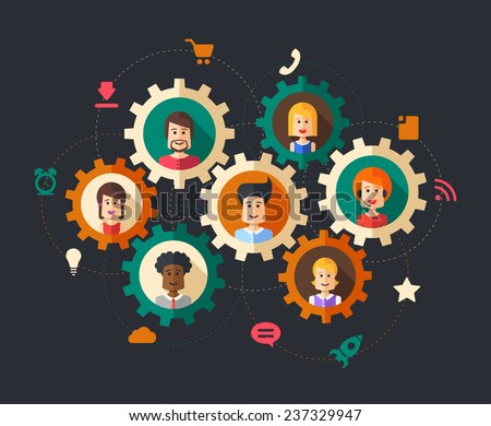 Modern vector illustration of abstract  people business composition - stock vector