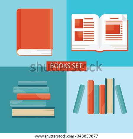 Modern vector illustration of books set, education set - stock vector