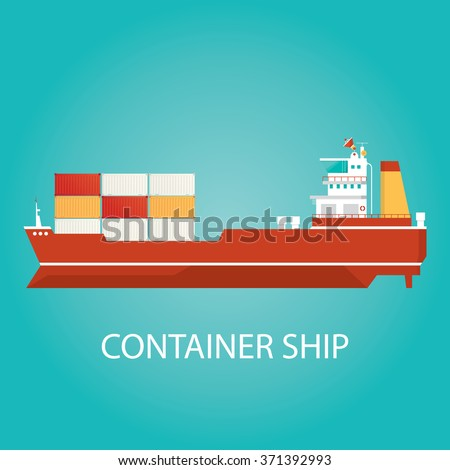 Modern vector illustration of cargo service, ship delivery, cargo ships logistic over the sea - stock vector