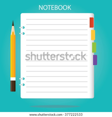 Modern vector illustration of  notepad, paper sheet isolated, pencil, notebook - stock vector