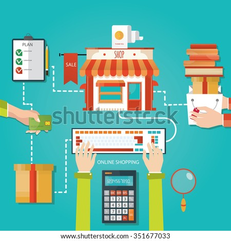 Modern vector illustration of online shopping, finance - stock vector
