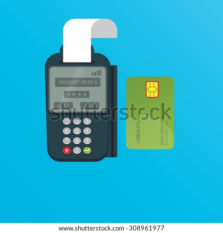 Modern vector illustration of POS terminal and credit card - stock vector