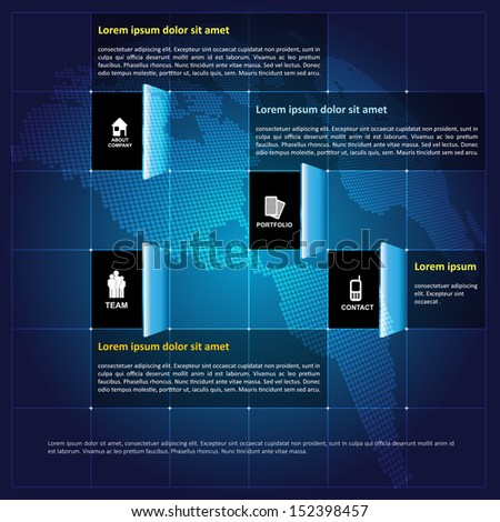 Modern vector infographic corporate background with contact icons in open squares and place for text - stock vector
