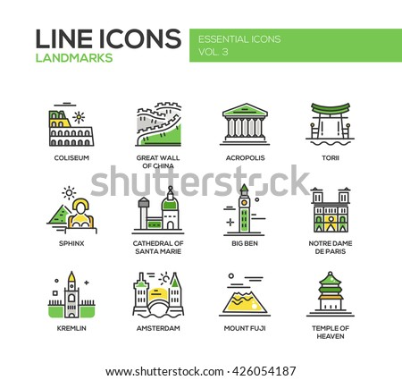 Modern vector line design icons, pictograms of famous landmarks. Coliseum, Sphinx, Torii, Acropolis, Great Wall, Santa Marie Cathedral, Big Ben, Notre Dame, Fuji, Temple of Heaven, Kremlin, Amsterdam - stock vector